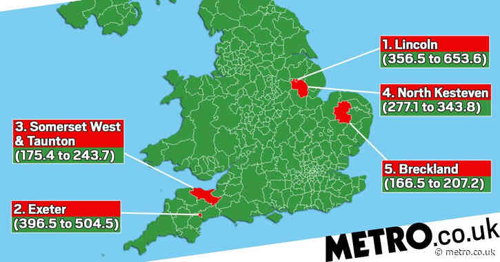 Map shows Covid hotspots as only nine areas in England see rise in cases