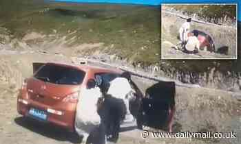 VIDEO: Moment a car rolls off a cliff in China