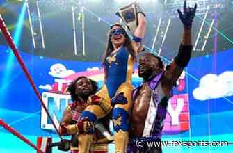 The New Day celebrate with Nikki A.S.H after her victory: Aug. 2, 2021