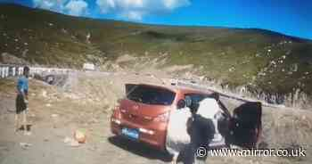 Terrifying moment family attempt to leap from car as it falls from cliff edge