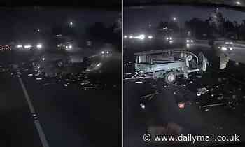 Dash cam vision shows ute smash on Monash Freeway in Victoria as distracted driver flips vehicle