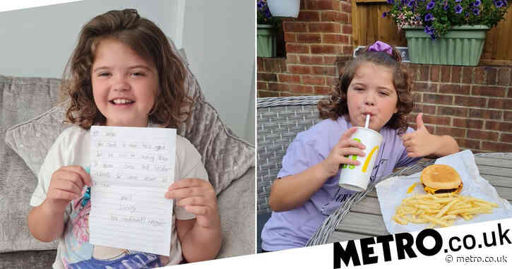 Cheeky girl writes note pretending to be McDonald's manager to trick mum into taking her for lunch