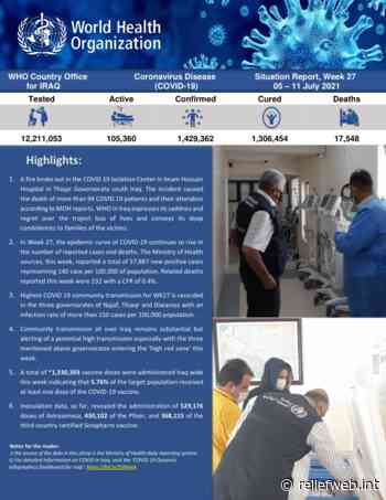 Iraq: Coronavirus Disease 2021 (COVID-19) - Weekly Situation Report (Week 27) (05 July - 11 July 2021) [EN/AR] - Iraq - ReliefWeb