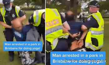 Bizarre moment anti-lockdown protestors claim they're doing YOGA in the park when approached by cops