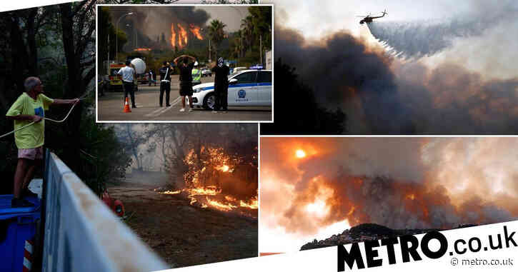 Huge wildfire tears through Athens in Greece's worst heatwave for 30 years