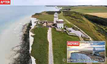 Sussex landmark is just 20 metres away from perilous drop as owners plan another rescue mission