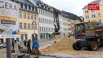 """Rund 200 Tonnen Sand fürs """"Gera Beach"""" auf dem Markt - Ostthüringer Zeitung"""