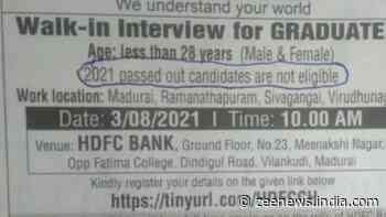 HDFC`s job circular `2021 passed out candidates are not eligible` goes viral, bank issues clarification