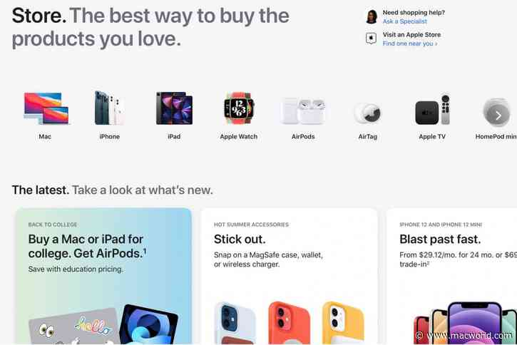 Apple actually has an online storefront now and it's very crowded
