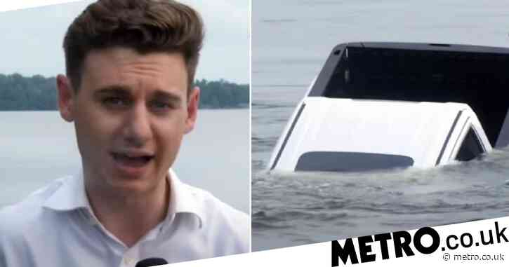TV anchor panics as truck slides into lake and sinks during live report