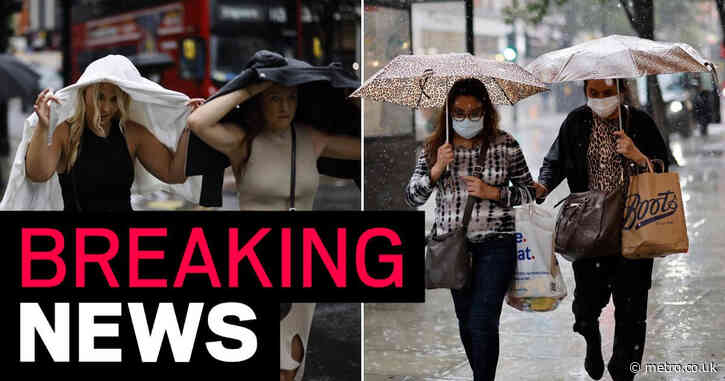 UK to be hit with heavy and thundery rain today as Met Office issues warning