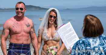 Couple ditch their clothes and tie knot on island beach with goat as their only guest