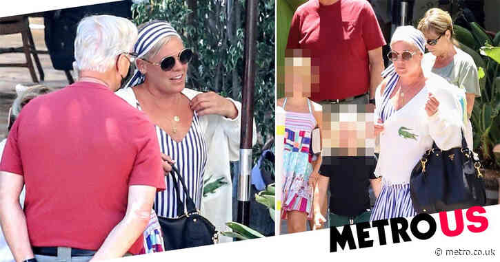 Pink is a summer vibe as she enjoys lunch with parents after offering to pay fines for Norwegian women's handball team