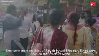 Non-permanent teachers of Punjab School Education Board protest in Mohali over their job status