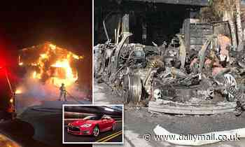 Sleeping couple wake to find house in flames after their Tesla caught fire while it was charging