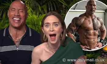 Dwayne 'The Rock' Johnson and Emily Blunt left SHOCKED when he's asked what is 'wrong' with his abs