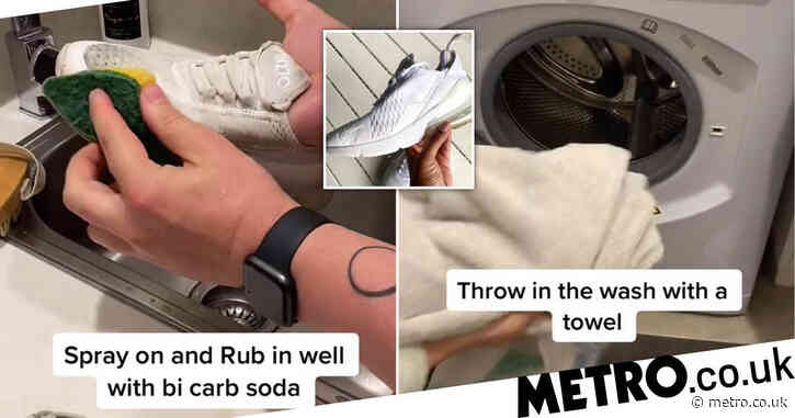 Mum shares super simple hack to get dirty trainers white and clean