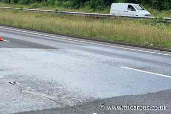 A27 closed eastbound at Hangleton as police clear diesel spillage