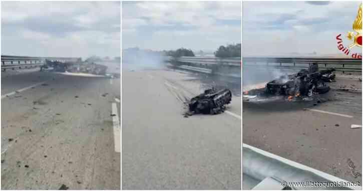 Autocisterna esplosa sulla statale Foggia-Candela, ecco cosa rimane dopo l'incidente: detriti e rottami sparsi per centinaia di metri