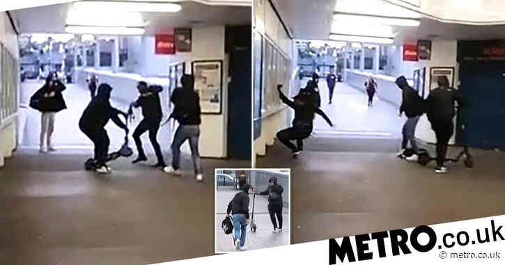 Yobs punch man in face and steal his e-scooter at train station