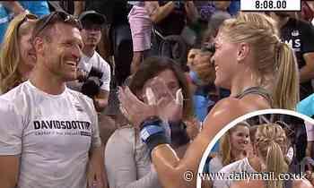 Brooks Laich kisses athleteKatrín Tanja Davíðsdóttir at her competition before Hawaiian getaway