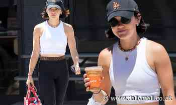 Lucy Hale has some pep in her step while clad in chic workout attire during post-exercise coffee run