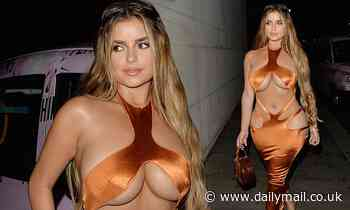 Demi Rose showcases her jaw-dropping assets as she dons skintight orange dress