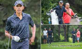 Barack Obama spends the day golfing ahead of his 60th birthday celebration