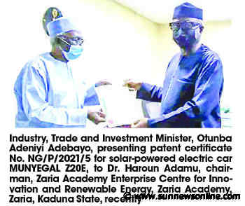 Zaria academy builds solar-powered electric car, gets FG's patent - Daily Sun