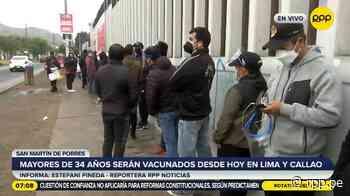 Largas colas en los vacunatorios de Lima y Callao en el primer día de inmunización de los mayores de 34 años [VIDEO] - RPP Noticias