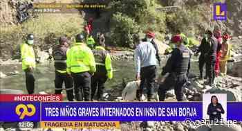 Accidente en Matucana: Tres menores de edad en estado grave en el INS de San Borja - Diario Perú21