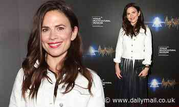 Hayley Atwell looks effortlessly chic in a leather skirt at Pink Floyd exhibition - Daily Mail