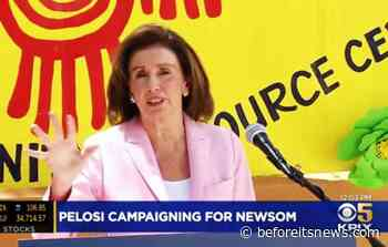 Fake Nancy Pelosi Body Double Campaigns for Criminal Nephew Gavin Newsom (video clip)