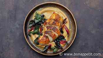 Chicken With Mushroom Purée and Swiss Chard