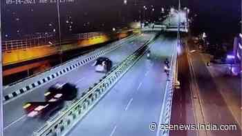 Caught on camera: Two die as speeding car tosses motorcycle off flyover in Bengaluru