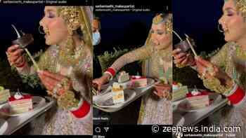 Bride caught eating pastry on her wedding day, netizens call her a `vibe` - Watch
