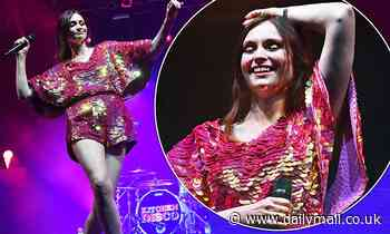 Sophie Ellis-Bextor shines bright in a fuchsia sequin playsuit at Isle Of Wight Festival
