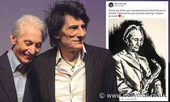 Ronnie Wood shares charcoal drawing of Charlie Watts and thanks fans for support following his death