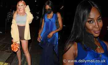 Naomi Campbell looks incredible in a flowing blue gown at London Fashion Weekopening night
