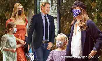 Drew Barrymore and ex Will Kopelman take their girls to Hamilton with his new wife Alexandra Michler