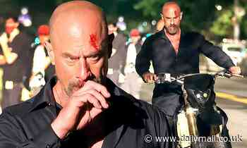 Christopher Meloni sports a bloody gash on his head while filming Law & Order: Organized Crime