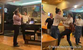 Drunk 'Karen' attacks unmasked restaurant worker with cleaning spray and demands to see vaccine card