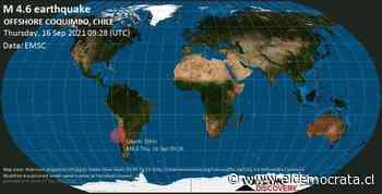 Información sobre terremotos: Mag. Promedio Terremoto 4.6 - Océano Pacífico Sur, 117 km al noroeste de Valparaíso, Chile, jueves 16 de septiembre de 2021 4:28 am (GMT -5) - ElDemocrata