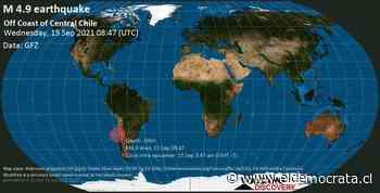 Información sobre terremotos: Mag. Promedio Sismo de 4.9 - Océano Pacífico Sur, 98 km al oeste de La Ligua, Provincia de Pitorca, Valparaíso, Chile, miércoles 15 de septiembre de 2021 3:47 am (GMT -5) - ElDemocrata