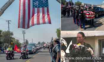US marine Nicole Gee honored by her community at procession ahead of her funeral in Sacramento