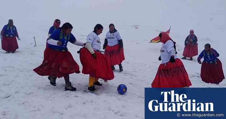 Bolivian Cholita Climbers play football at 5,890m in the Andes – video