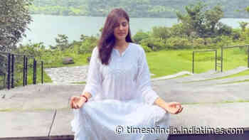 Rhea Chakraborty shares a picture of herself meditating amid the beauty of nature