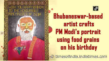 Bhubaneswar-based artist crafts PM Modi's portrait using food grains on his birthday