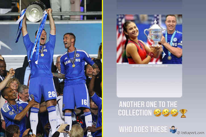 John Terry laughs as memes appear of him in full Chelsea kit celebrating lifting US Open trophy with Emma... - talkSPORT.com