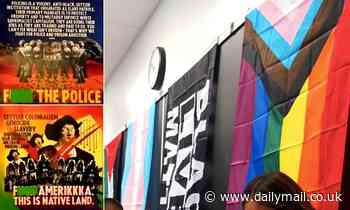 Los Angeles classroom is decorated with Palestinian, BLM and Gay Pride flags together with posters